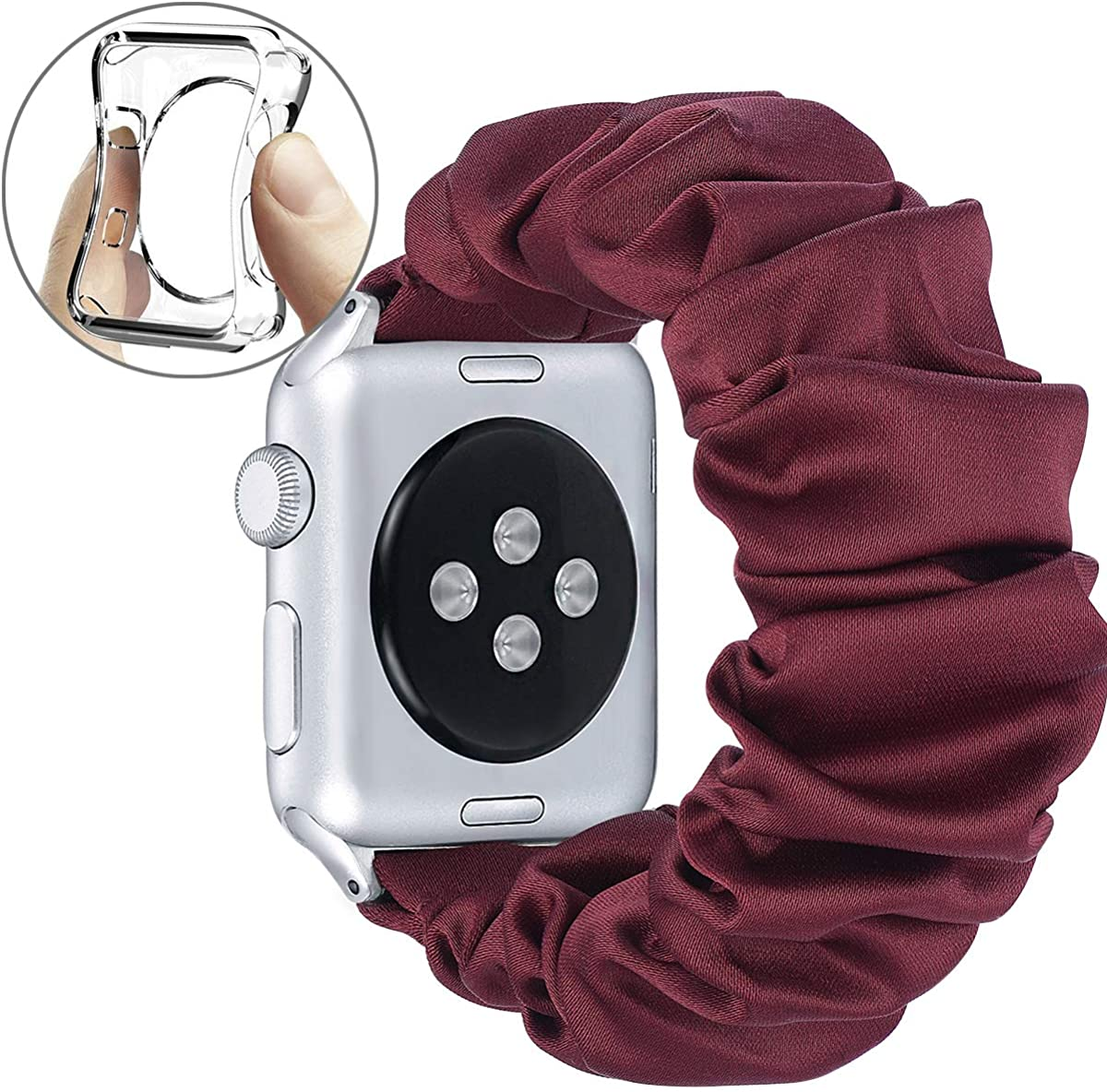 fastgo Compatible with Apple Watch Band Scrunchie 38mm/40mm Women Girls Gift Elastic Bracelet Stretchy Soft Fabric Strap Replacement Wristbands for Iwatch SE Series 6/5/4 3/2/1 42mm/44mm Accessories