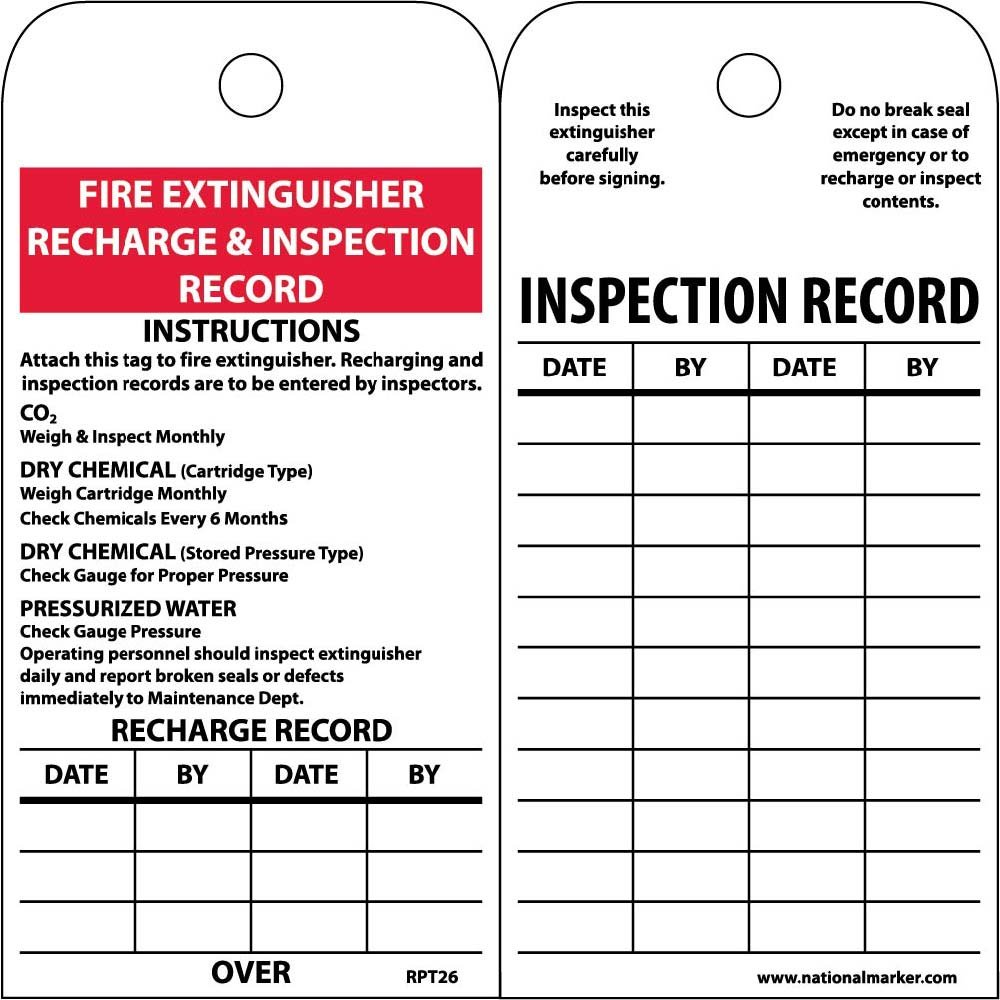National Marker Corp. RPT26ST250 Tags, Fire Extinguisher Recharge and Inspect, 6 Inch X 3 Inch, Polytag, Box of 250