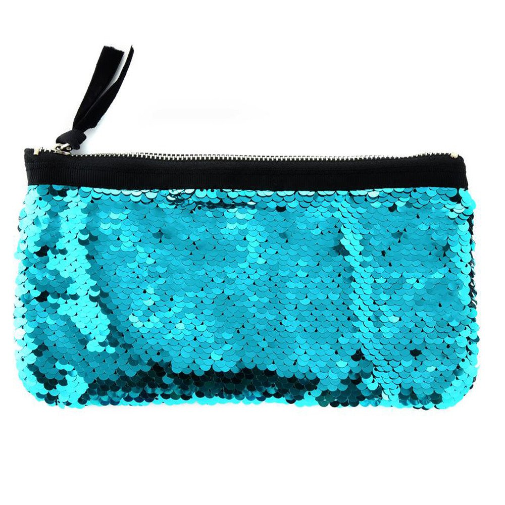 Clearance! Women Make-up Bag Double Color Sequins Coin Cards Holder Purse Wallet Pencil Pouch (D)
