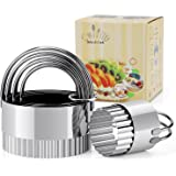 Biscuit Cutter Set (5 Pieces/Set), HULISEN Round Biscuit Cutters with Fluted Edge, Wave Cookies Cutter with Handle (Wave)