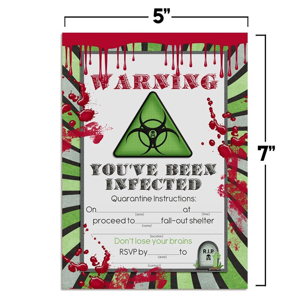 Amazon.com: Zombie Infection Birthday Invitations, Ten 5\