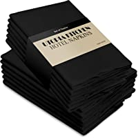 Utopia Kitchen Cloth Napkins 18 by 18 Inches, 12 Pack Black Dinner Napkins, Poly Cotton Soft Durable Napkins