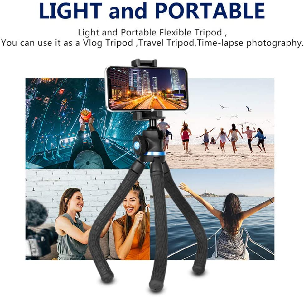 JIASHU Camera Tripod Flexible Tripod Mirrorless DSLR,360 Degree Spherical Tripod,Mini Table Stand Light and Portable Tripods for Phone with Phone Clip