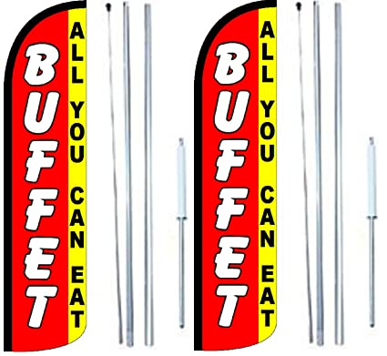 Buffet All You Can Eat King Windless Swooper Feather Flag Sign Kit With Complete Hybrid Pole set Pack of 3