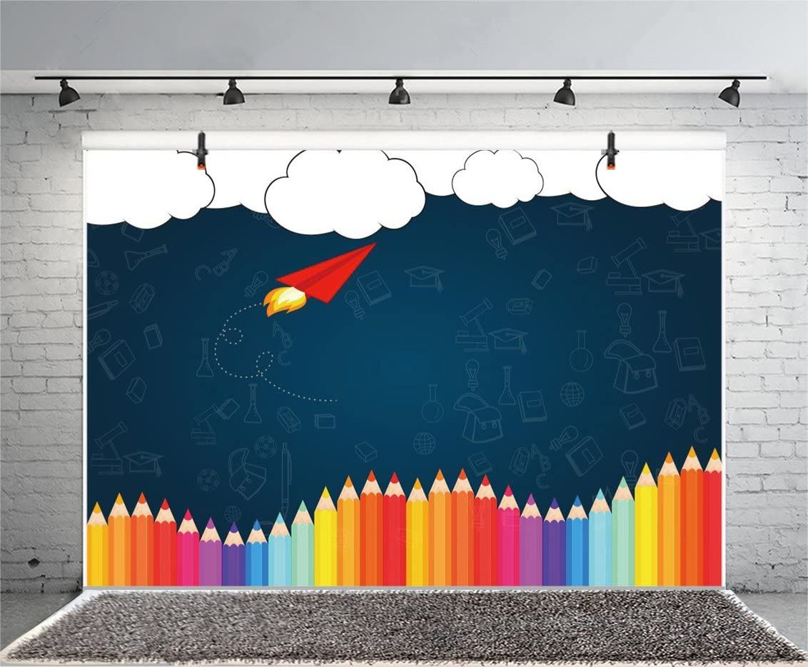 Baocicco 10x10ft Back to School Theme Backdrop Colored Crayons Pattern Photography Background Grunge Background Wallpaper Decor School Season Children Students Artistic Portrait Studio Video Prop