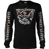 HARLEY-DAVIDSON Military - Men's Black Long-Sleeve Eagle Graphic T-Shirt - Kadena Air Base | Eagle Ride