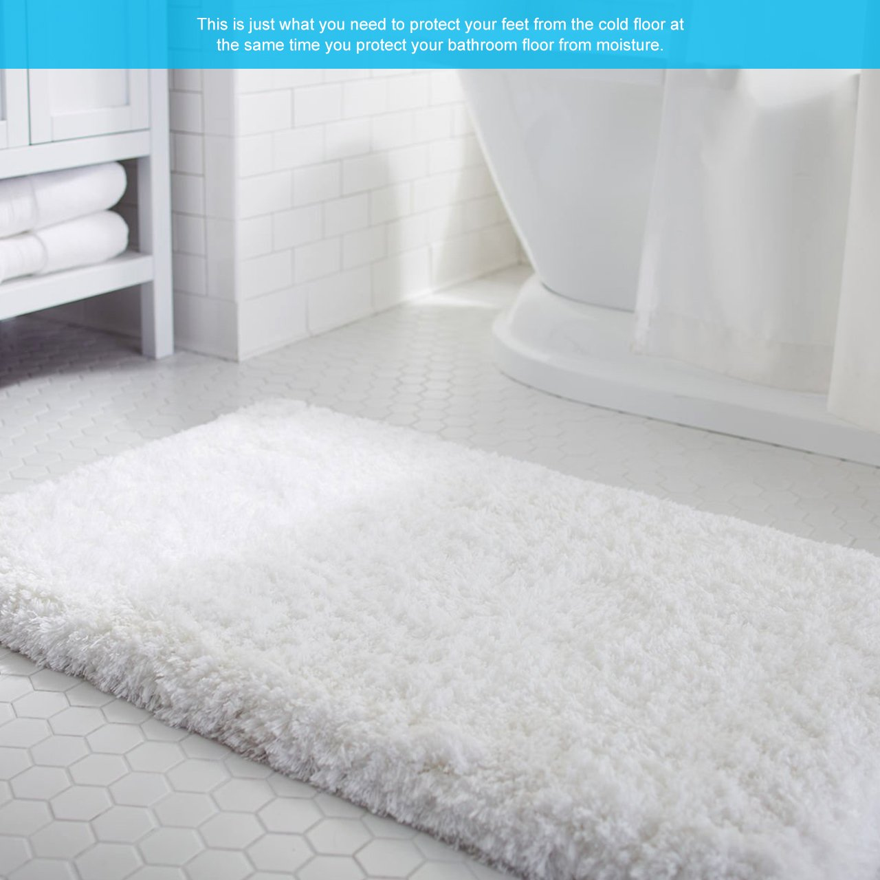 Corridor Sitting Room Kitchen Bathroom White, 20 x 31 LIVINGbasics Microfiber Anti-Slip Bathmat Bathroom Rugs Living Room Extra Fluffy High Absorbent Doormat Floor Rug for for Bedroom Car Seats