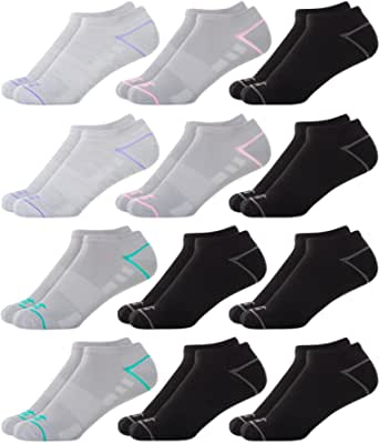 Avia Women's Performance Half Cushion Mesh Vent No Show Socks (12 Pack)