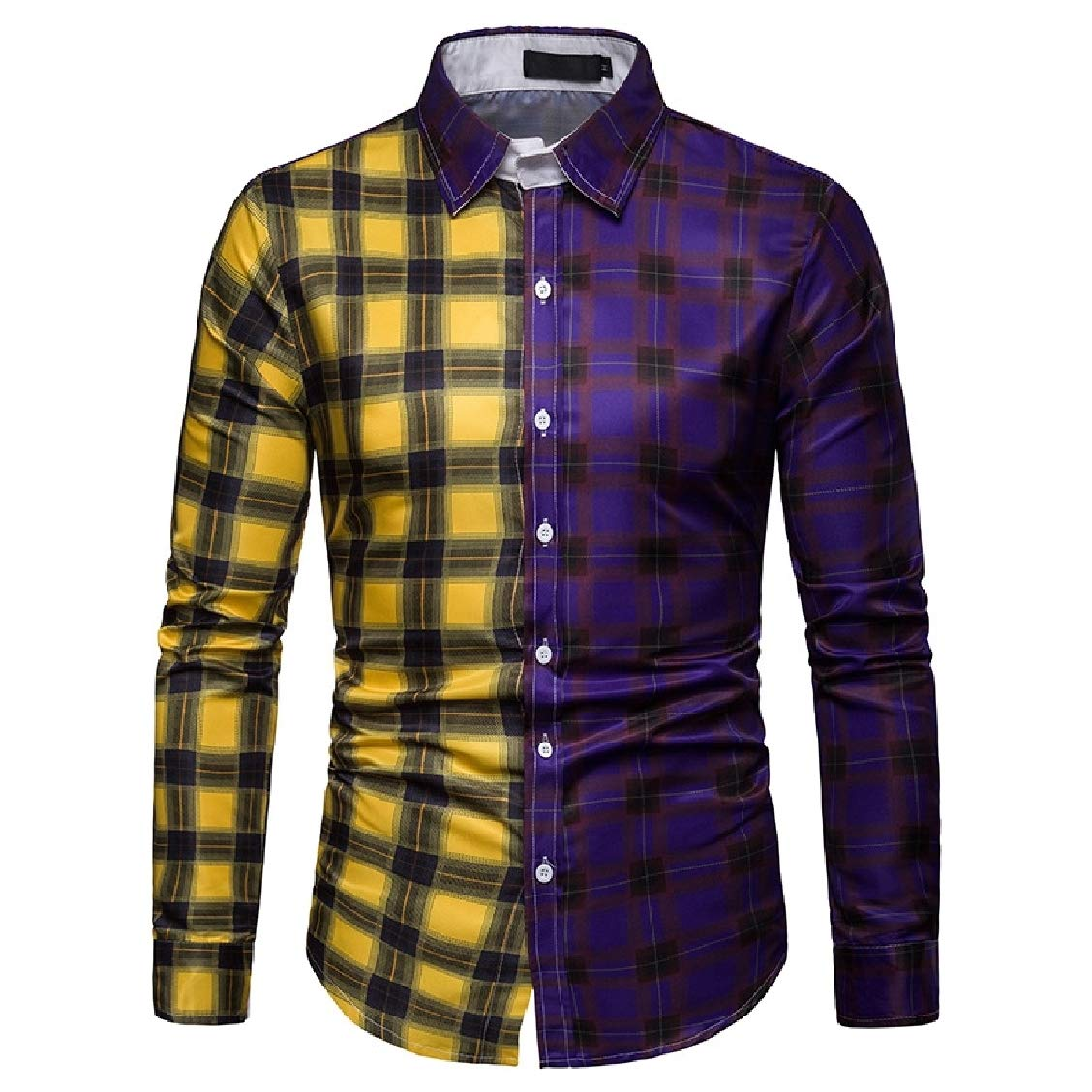 Freely Mens Hit Color Business Oversize Plaid Button Down Shirt