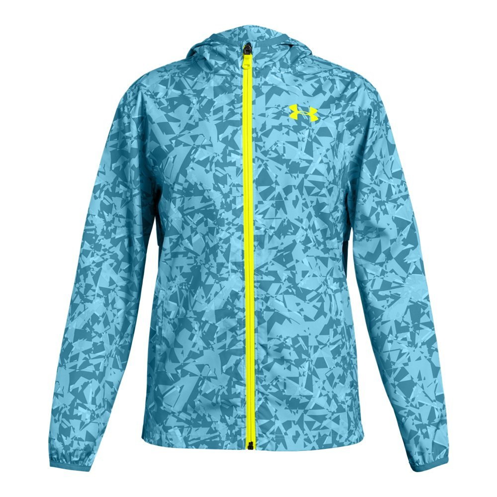 Under Armour Girls' Sackpack Jacket, Venetian Blue (448)/High-Vis Yellow, Youth X-Large by Under Armour