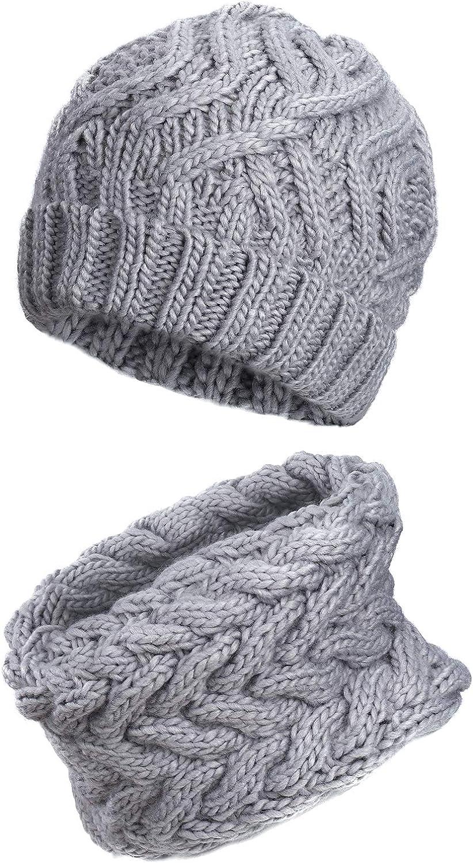 QH-Shop Set Strickm/ütze Schal Damen Warm Slouch Beanie Passender Winter-Schal 2 St/ück Einheitsgr/ö/ße