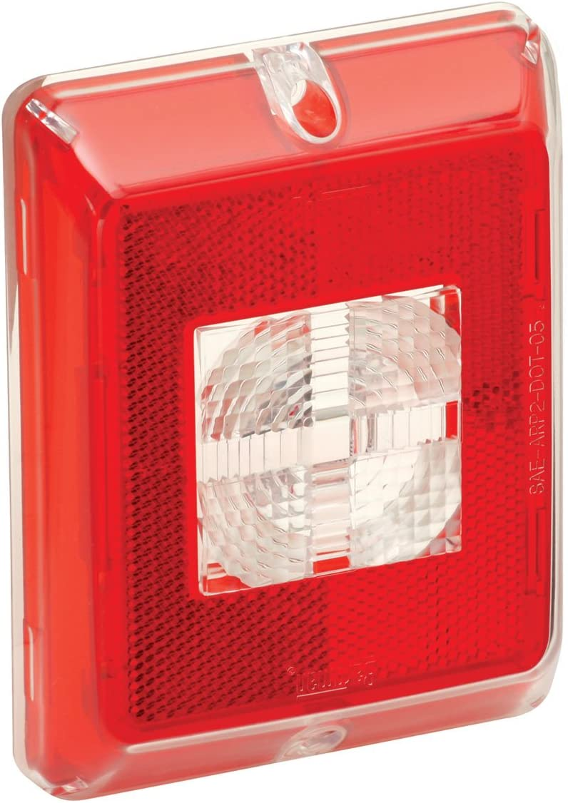 Fulton Bargman 48-84-711 Enhanced Height Incandescent Reflex with Clear Center Backup Lens - Red Border