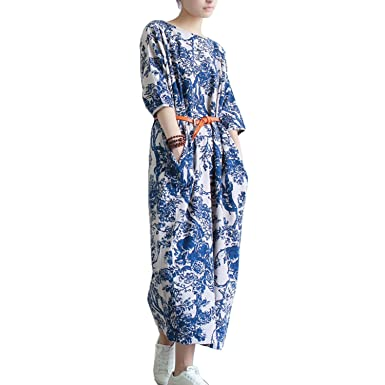 Collocation-Online Vestidos 2018 Women Summer Loose Casual Vintage Printed Half-Sleeve Linen Dress