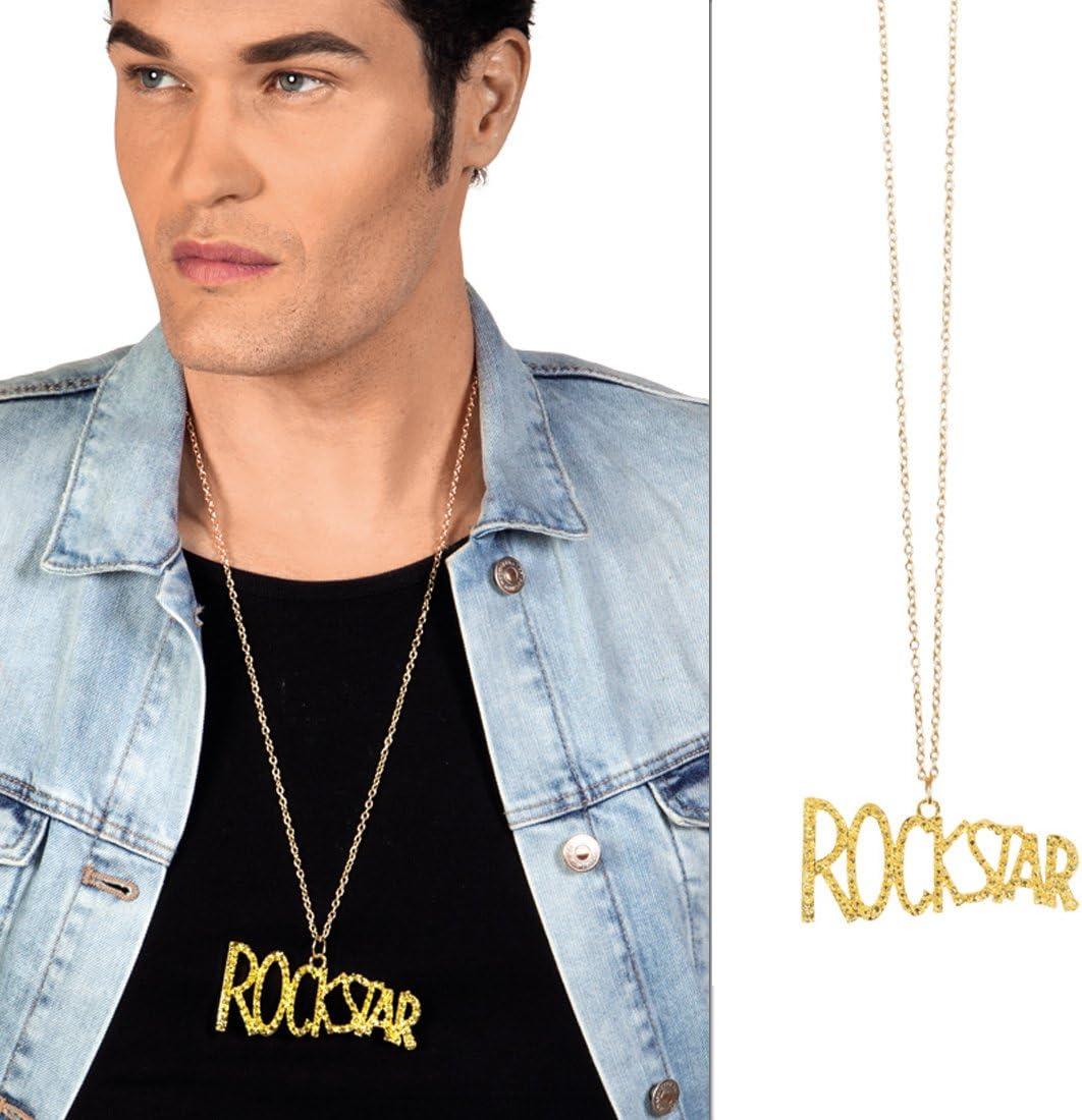 Amakando Collar de Roquero - Dorado | Collar Estrella de Rock ...