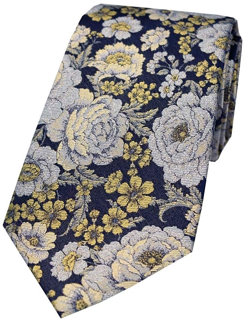 Gold//Navy//Silver Posh and Dandy Mens Floral Silk Tie