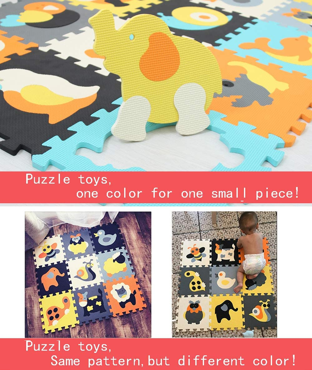 MQIAOHAM 18 pcs soft kids EVA foam play mat jigsaw infant puzzle crawling baby playmat mats for kid game gym area rug floor for children non toxic activity carpet tiles safety non slip animal 011011