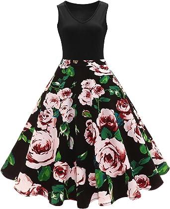 iBaste Vestidos Vintage Mujer Impresión Cintura Alta Vestido con ...