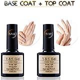Top et Base Coat Gel - Y&S Vernis Semi Permanent à Ongles UV LED Gel Soak Off Nail Polish 2 x 10ml