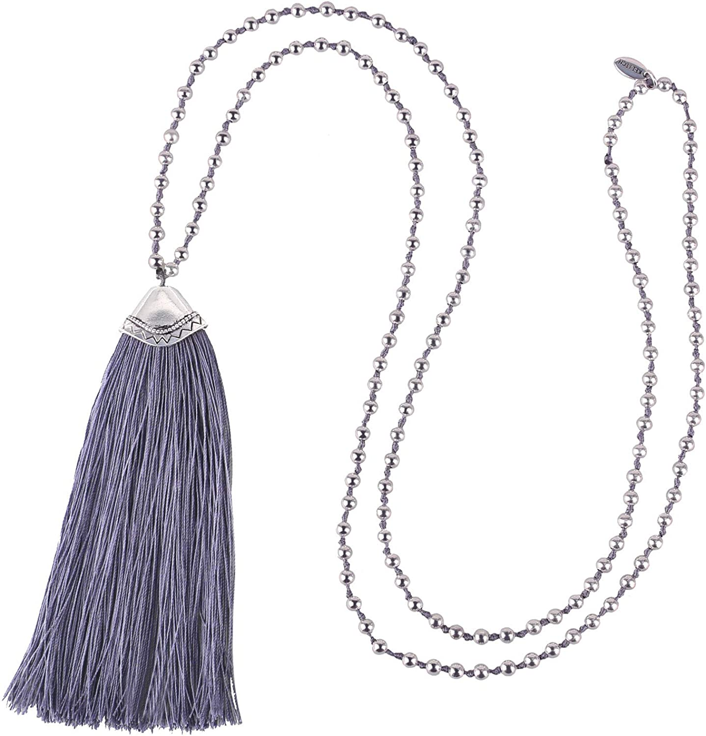 KELITCH Hand Knotted Tassel Necklace Long Layered Chain w/Silver-Plated Beads for Women