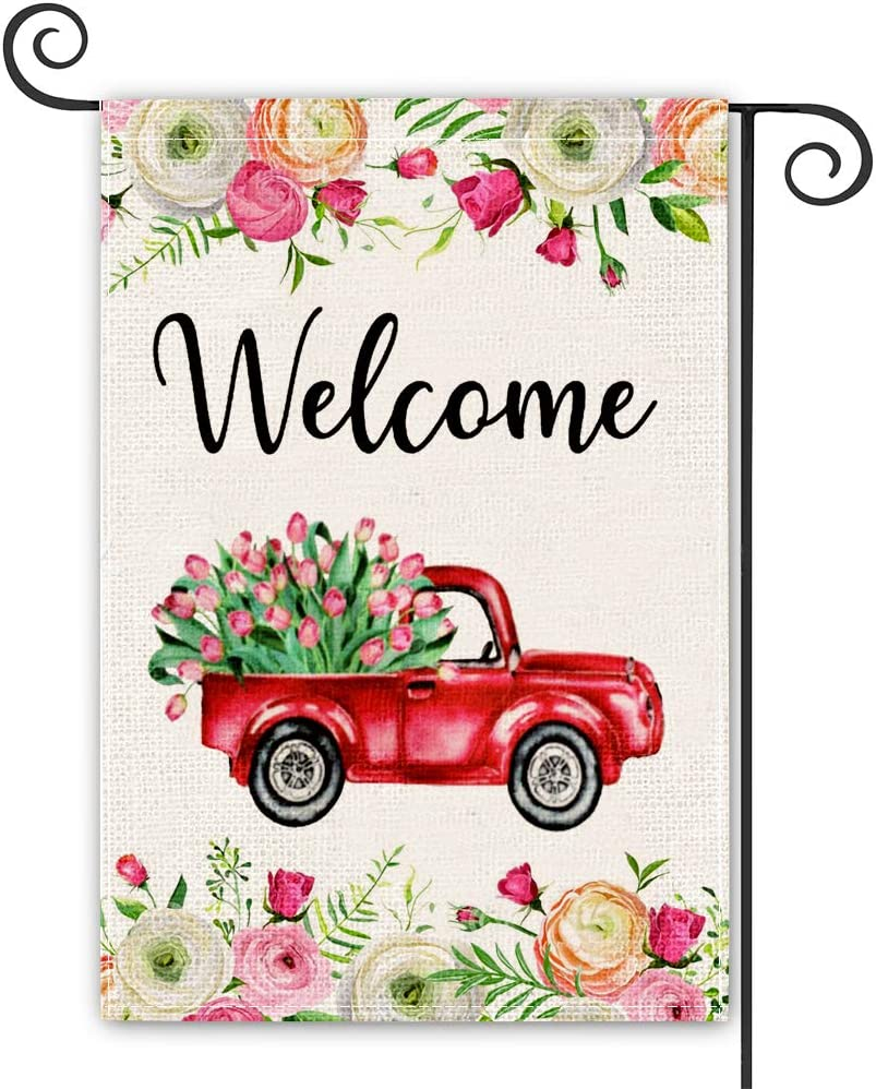 spring garden flag Welcome Tulips and Lily Peony Flower Truck Garden Flag Vertical Double Sized, Seasonal Spring Valentine's Day Easter Mother's Day Yard Outdoor Decoration 30 x 50 Inch…