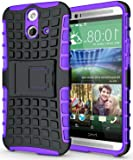 Heartly Flip Kick Stand Hard Dual Armor Hybrid Bumper Back Case Cover For HTC One E8 - Purple