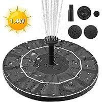 Maxesla Solar Fuente Bomba - 1.4W Bomba de Agua Solar con 4 boquillas Bomba Flotante con Panel Solar,para Pequeño Estanque, Baño de Aves, Piscina, Fish Tank, Decoración