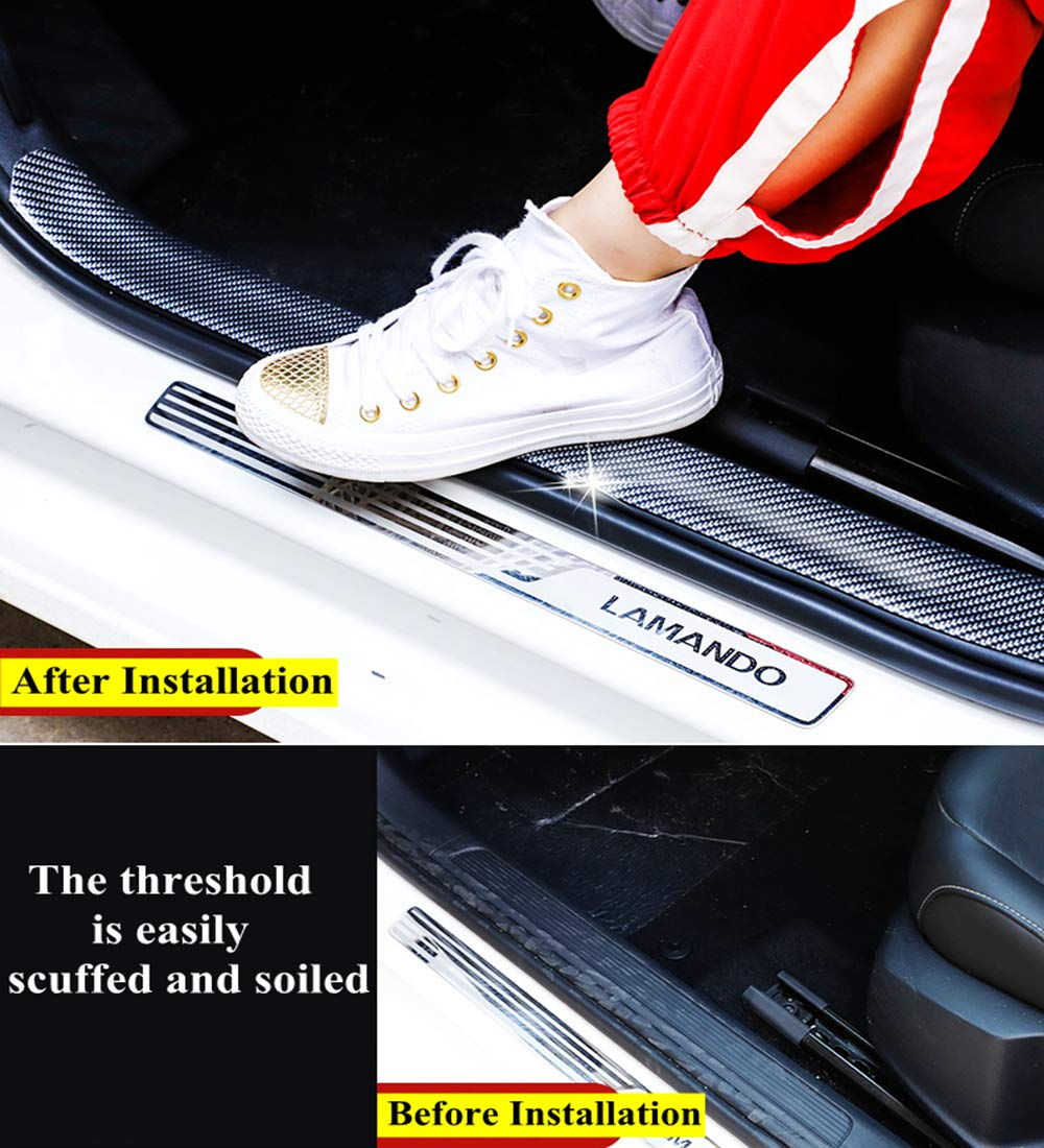 width5CM long2.5M Goodream Car Door Sill Protector Entry Guard Carbon Fiber Rubber Scratch-Resistant Strip Bumper Protector Accessories for SUV//Cars,Arbitrary Cutting