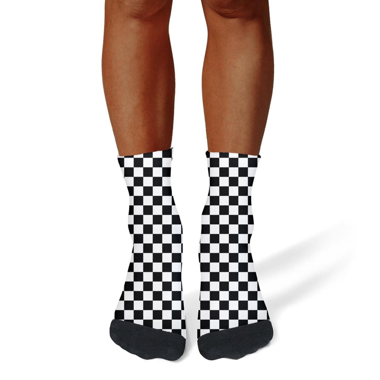 XIdan-die Mens Athletic Crew Socks Black and White Checkered Moisture Wicking Casual Socks
