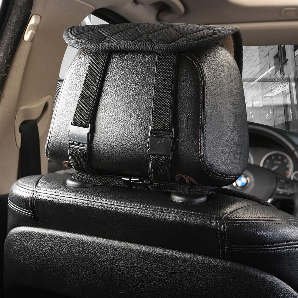 West Llama Front Car Seat Cover Protector Cushion with Lumbar and Headrest Pillow,Cloth Driver Seat Cover for Car Truck SUV Black