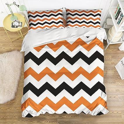 Amazoncom Libaoge Piece Bed Sheets Set Orange Black White - Orange print sheets