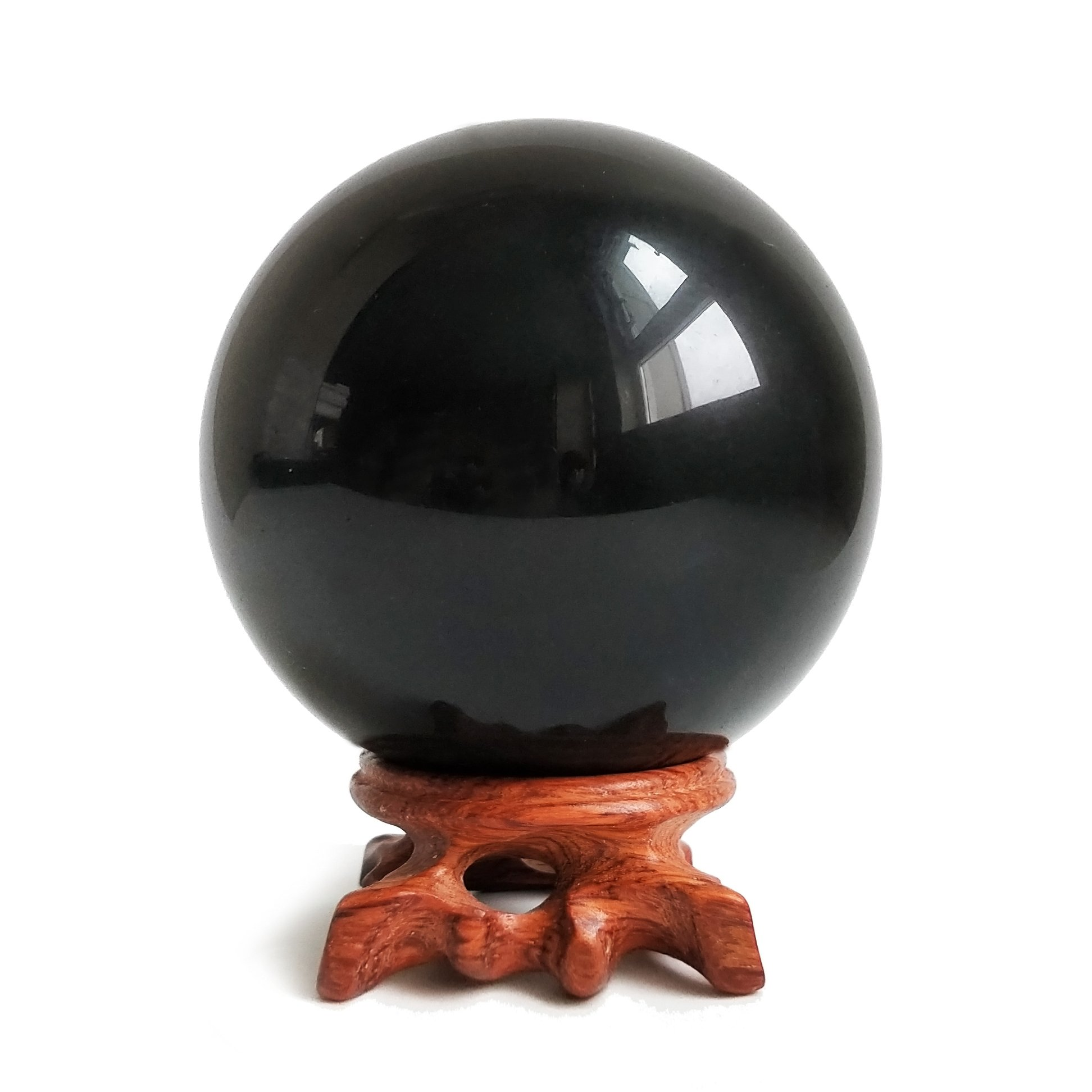 Mina Heal Obsidian Crystal Ball for Fengshui Ball, Meditation, Crystal Healing, Divination Sphere, Home Decoration, 100% Natural and Genuine (100 mm) by Mina Heal
