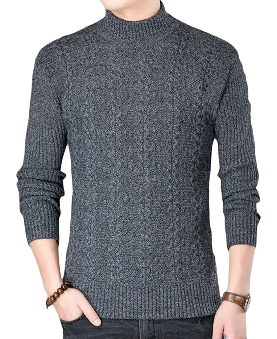 WSPLYSPJY Men Slim Fit Long Sleeve Cable Knit Sweaters Pullovers