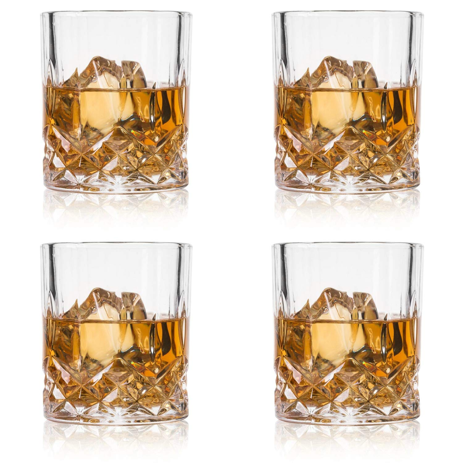 GLASKEY Whiskey Glasses, Set of 4 Scotch Glass Tumblers for Drinking Bourbon, Cognac, Irish Whisky, Large 7-12oz Premium Lead-Free Crystal Old Fashioned Glass by GLASKEY
