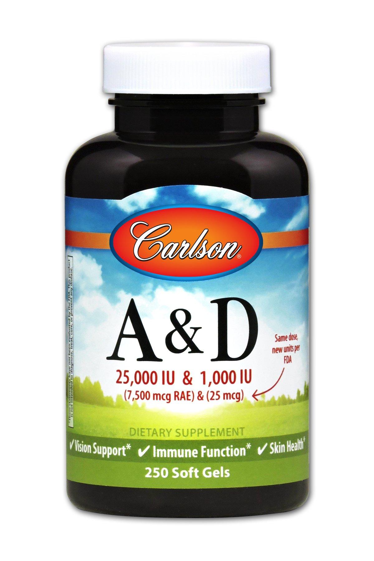 Carlson - A & D, 25000 IU & 1000 IU, Vision Support, Immune Function & Skin Health, 250 Soft gels by Carlson