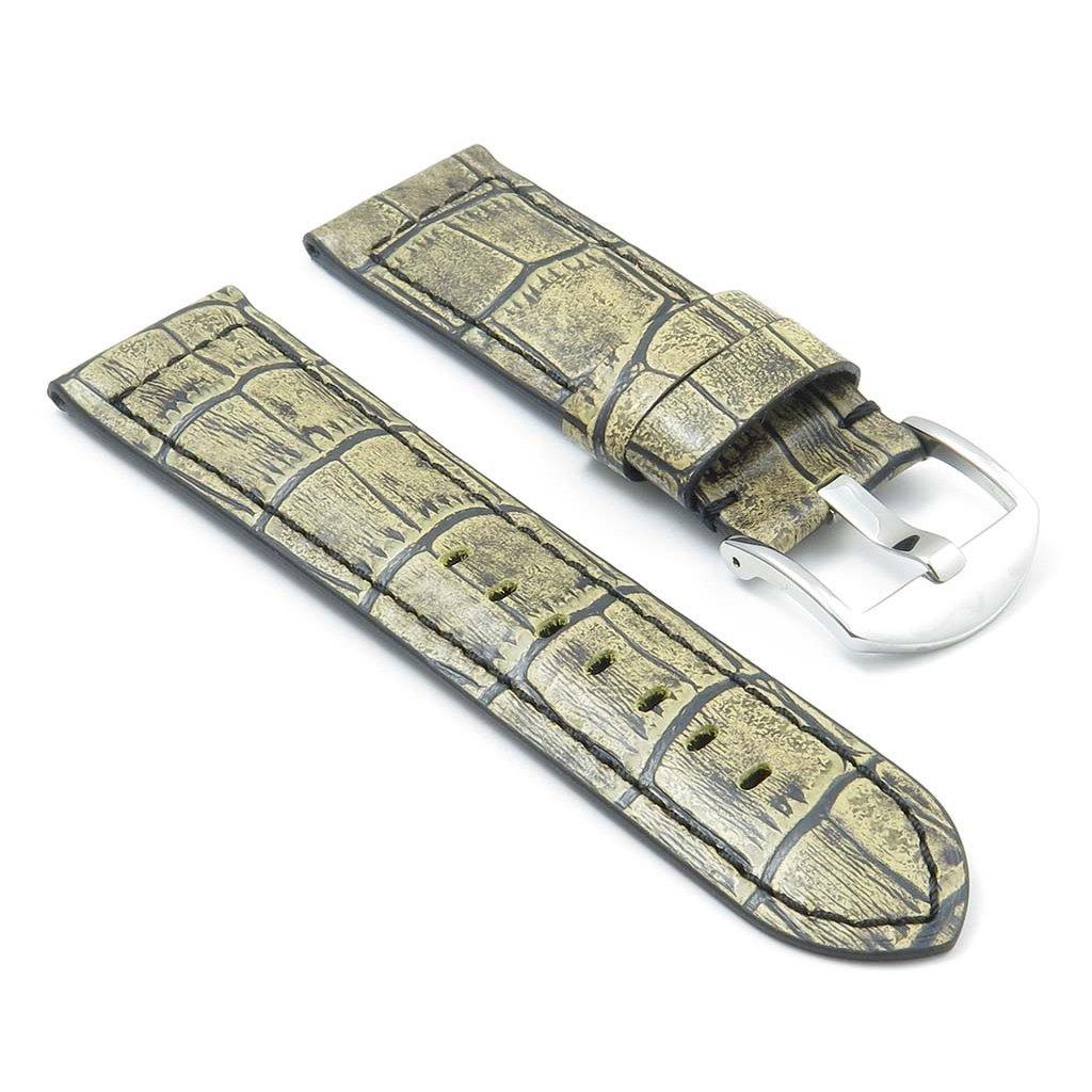 DASSARI Cartel Crocodile Embossed Leather Watch Band for Panerai