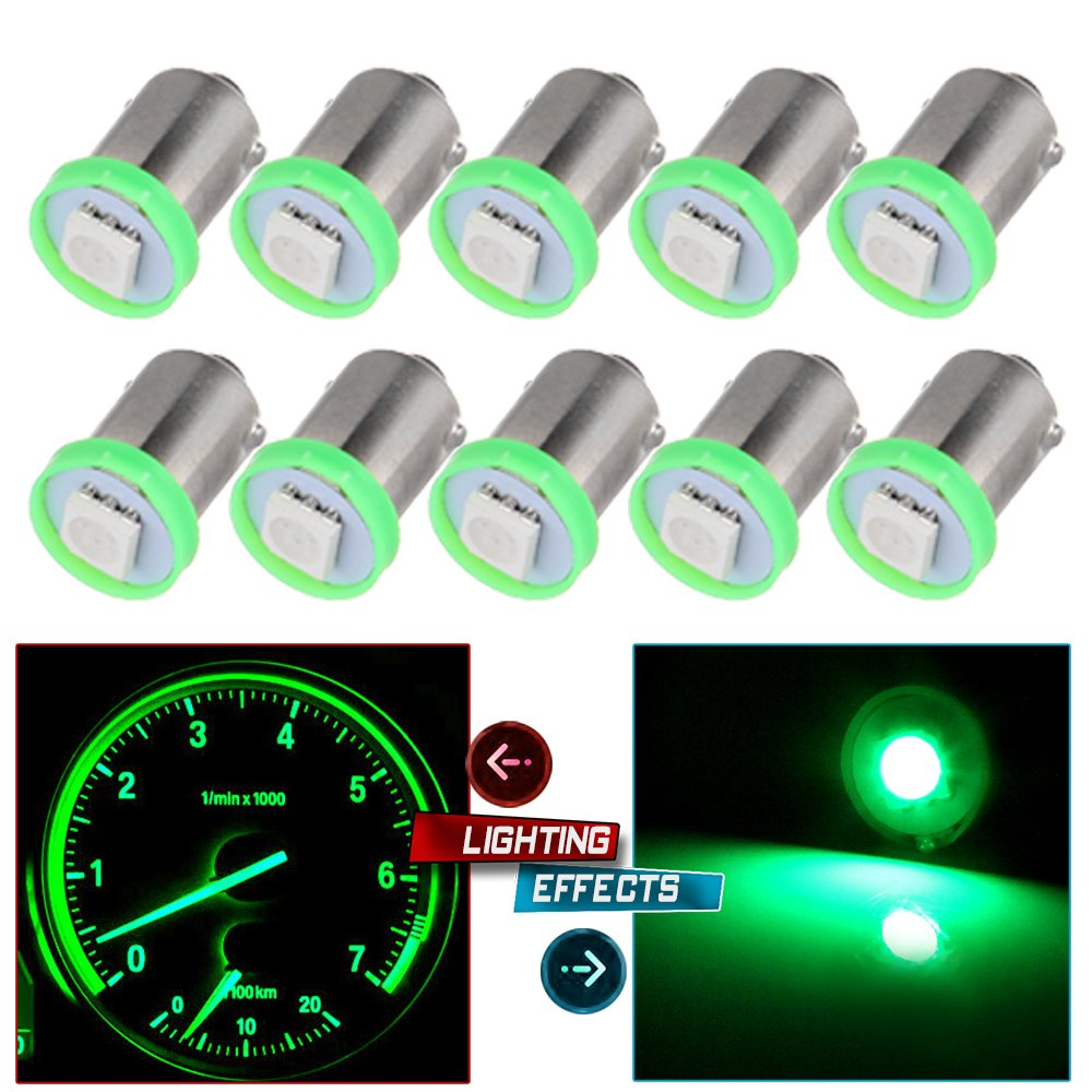 cciyu 10 Pack Green BA9S 1-5050-SMD LED SMD 1895 Dash Instrument Panel Cluster Ash Tray Light Bulbs Replacement fit for Dashboard Gauge cluster Speedometer Odometer Map Light