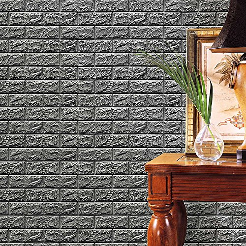 Jaromepower New PE Foam 3D Wallpaper DIY Wall Decor, Natural Brick Effect Simple and Modern Style Wall Stickers,Bedroom Livingroom Embossed Brick Stone Wall Paper