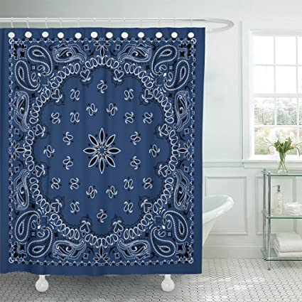 Emvency Shower Curtain Colorful Pattern Blue Paisley Bandana Border Scarf Black Classic Waterproof Polyester Fabric 72