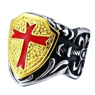 4zom Stainless Steel Red Armor Shield Knight Templar Cross Medieval
