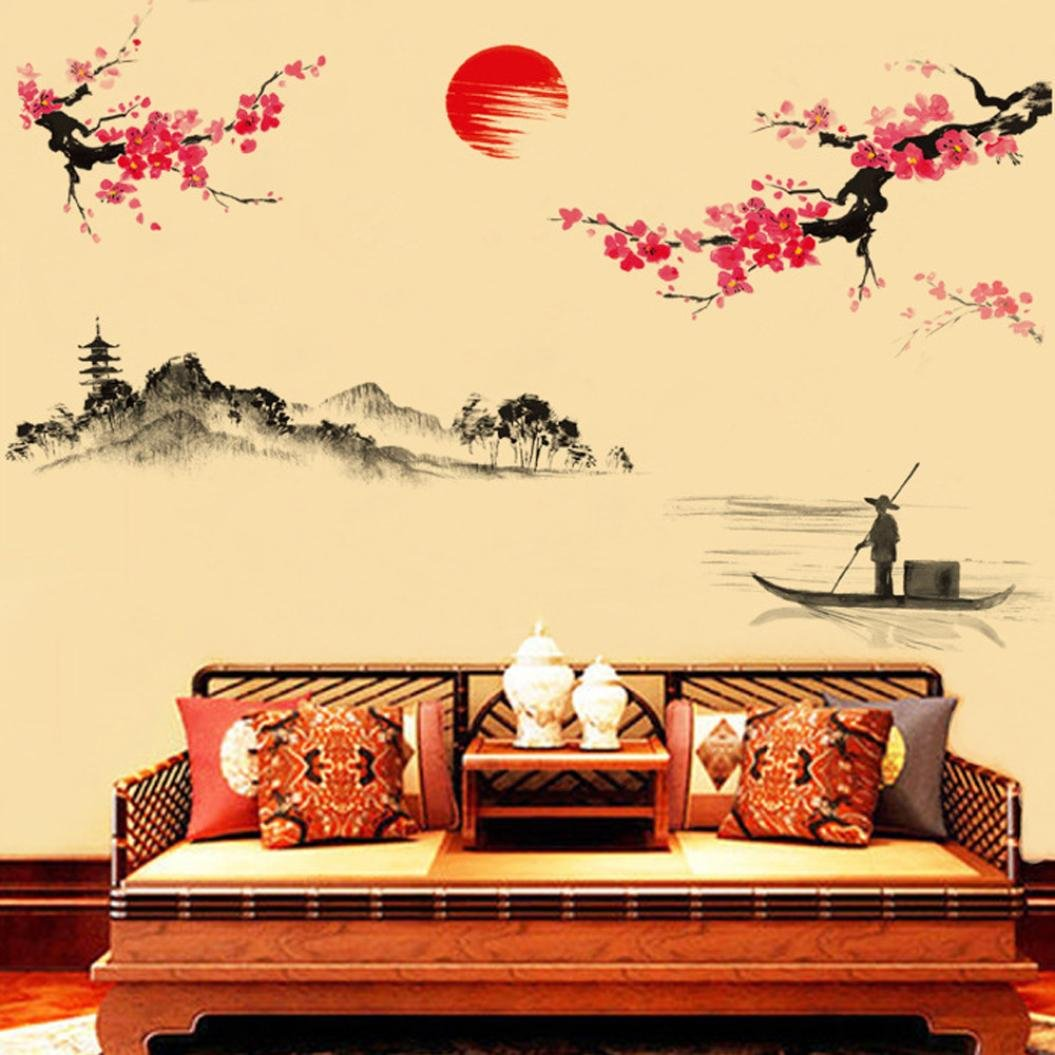 Amazon.com: Classical Chinese Style Ink Painting Wall Stickers ...
