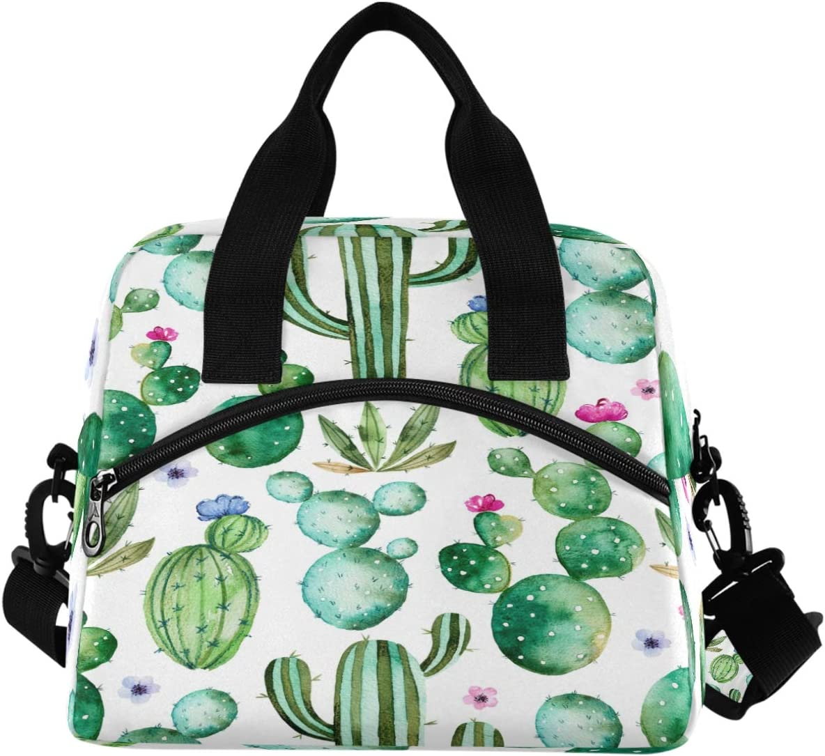 Watercolor Cactus Lunch Box Tropical Plant Cacti Flowers Lunch Bag Insulated Freezable Lunch Tote Kit Thermal Cooler for Office Picnic Travel Portable Reusable Handbag
