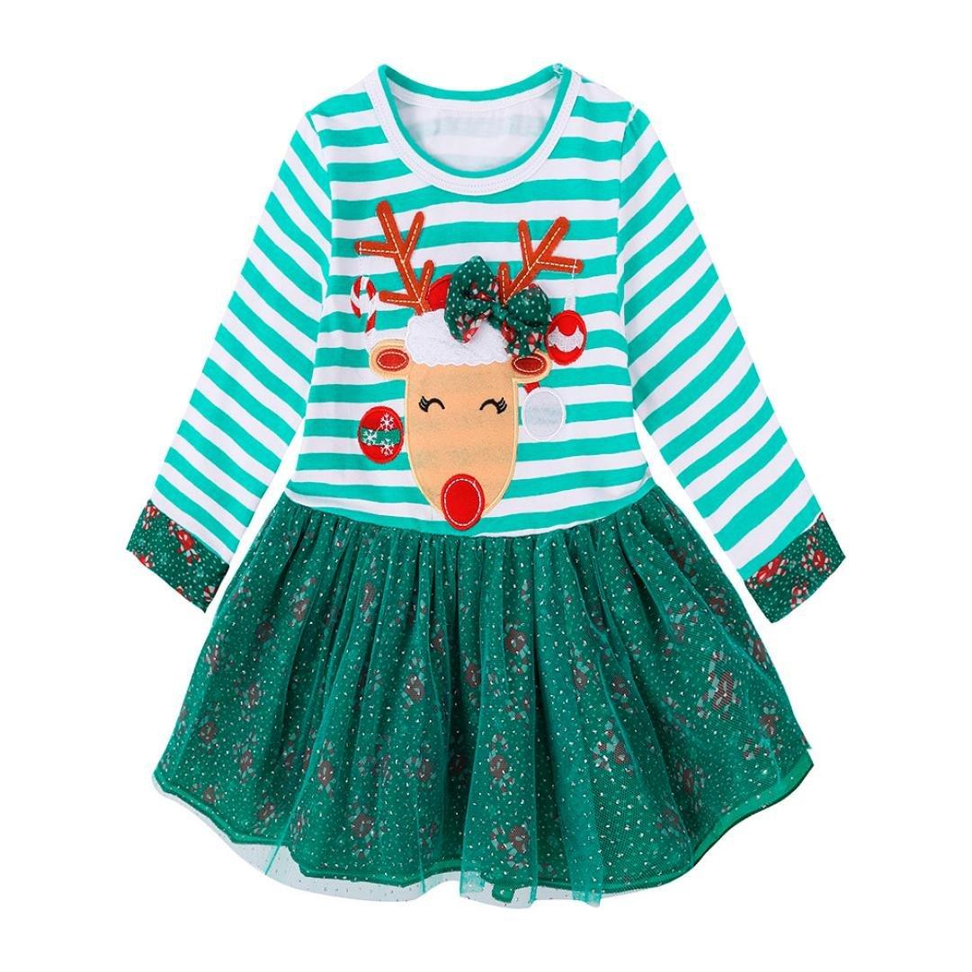 OVERDOSE Kleinkind Kinder Baby M/ädchen Deer Striped Langarm Prinzessin Kleid Weihnachten Outfits Kleidung