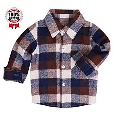 Mini honey Kids Little Boys Girls Baby Long Sleeve Button Down Red Plaid Flannel Shirt Plaid Girl Boy NB-6T