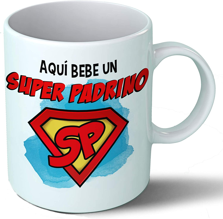 Planetacase Taza Padrino - Aquí Bebe Un Super Padrino - Regalo Original Padrinos Superpadrino Familia Taza Desayuno Café Ceramica 330 mL