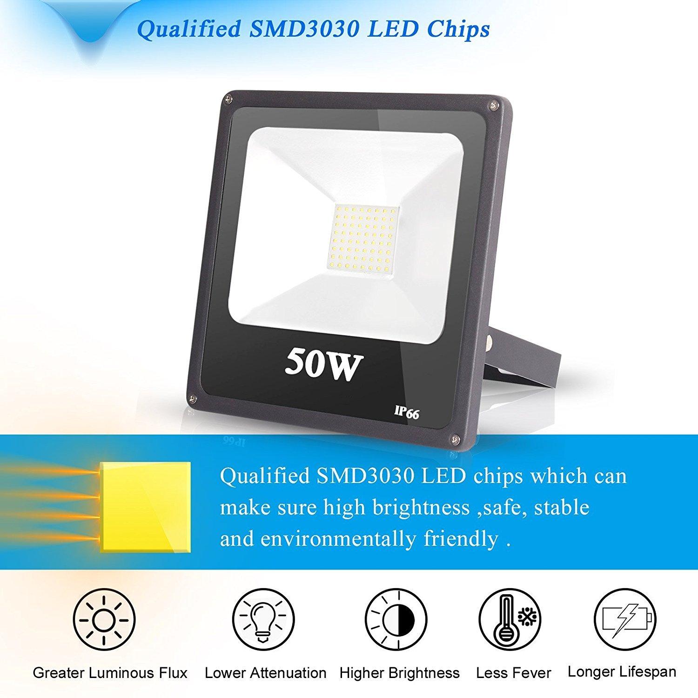 Roleadro 50W LED Projecteur Imperm/éable IP65 Lampe Led Spot pour Jardin Mur Cour /Éclairage ext/érieur et Int/érieur,Lumi/ère Blanc Froid Couloir