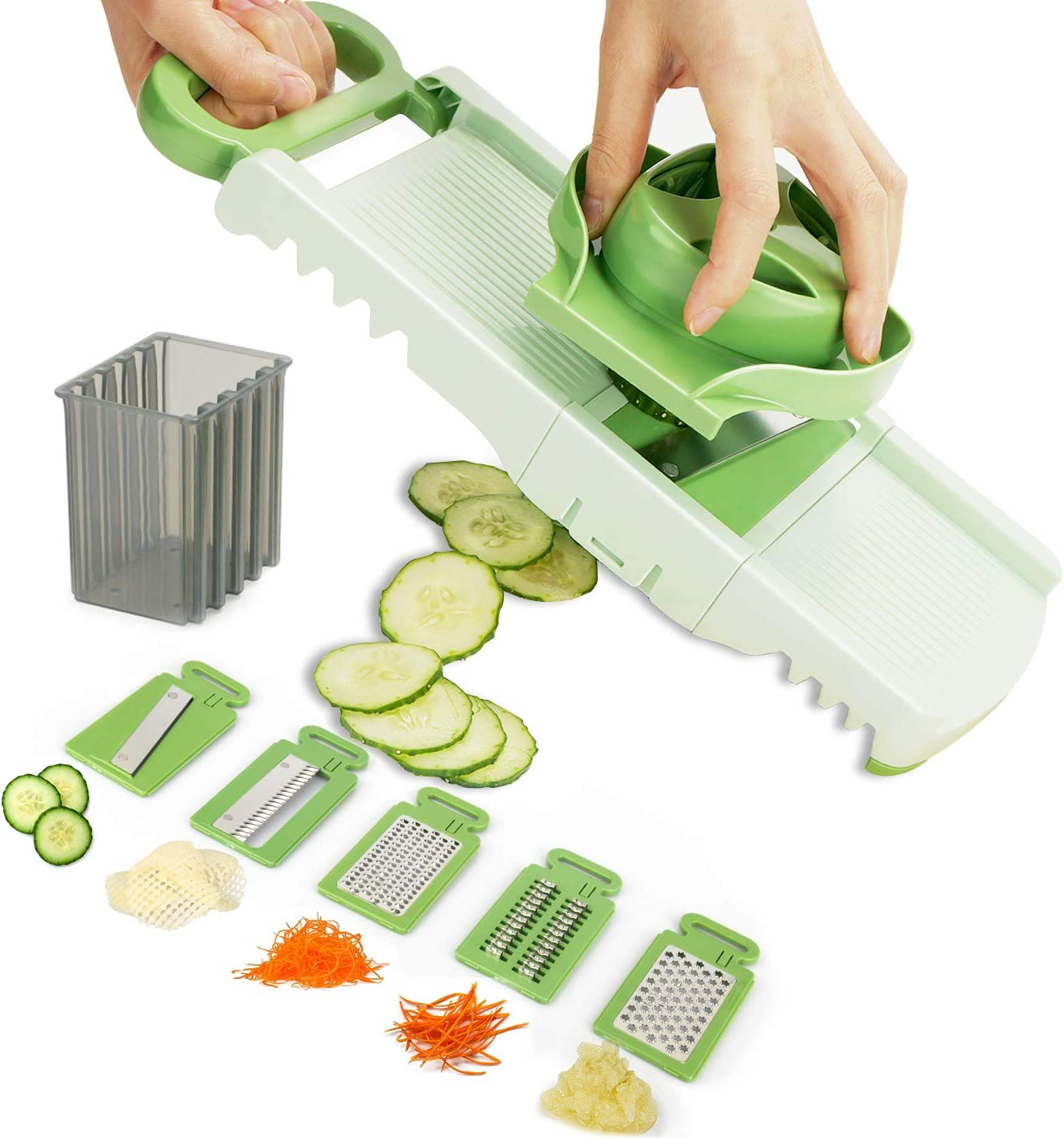 Aieruma Mandoline Slicer Vegetable, Premium Quality 6 Blades Adjustable Cheese/Vegetable Slicer, Veggie Cutter, Shredder, Grater, Julienne Slicer, Kitchen Maker for Low Carb-Free