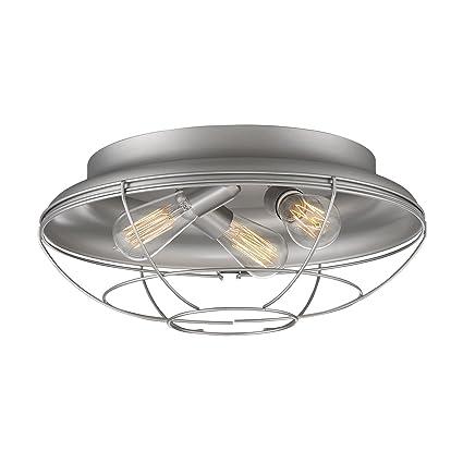Millennium Lighting 5387-SN Neo-Industrial 3-Light Flush Mount  sc 1 st  Amazon.com & Millennium Lighting 5387-SN Neo-Industrial 3-Light Flush Mount ...