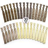 Ribbon Hair Bands No Tangle No Crease Rainbow Ties - Blonde Brown Color - 30 Pack