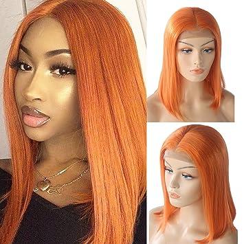 Perruque de cheveux humains en dentelle orange