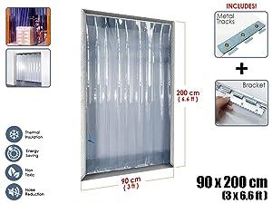 Arrowzoom New 1 Set of 90 X 200 cm/3 x 6.6 ft. - 1MM Thickness Clear Anti Scratch PVC Strip Curtain Door Kit for Freezer Doors and Warehouse Doors AZ1173